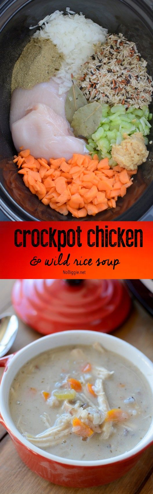 Creamy crock pot chicken and wild rice soup - a delicious hearty soup that will fill you up and warm you up!   recipe on NoBiggie.net