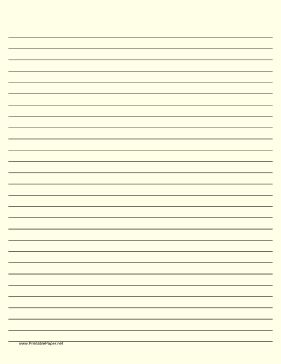 Wide ruled paper with black lines on a light yellow background. This type of paper can be helpful for people with special needs such as dysgraphia and dyslexia or scotopic sensitivity that makes white paper appear too bright. Free to download and print