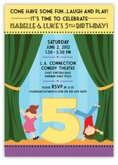 At the Theater Girl-Boy Twins Birthday Invitation - Perfect for a party with a puppet show, magic show, or at a children's theatre! Custom Twins Birthday Invitations from the leader in Twins & Multiples stationery products - www.amyscardcreations.com - Cards as low as $1.15 - Thank you for shopping with me and supporting small business!