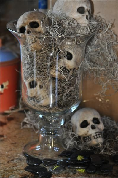 simple and easy halloween decoration get miniature skulls spanish moss and a glass hurricane play around with the moss and skulls to get them just how