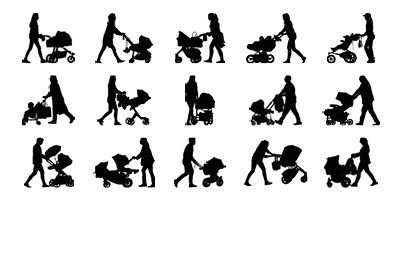 People pushing strollers and prams for architectural drawings.  High detailed vector drawings. Available for Revit, Archicad, Illustrator and SketchUp.  https://www.archigrafix.com/revit-detail-item-strollers-and-prams.html