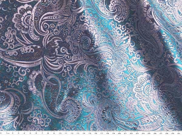 Modischer Jacquard Paisley Stoff mit Lurex,ideal für Bekleidung;           Artikelnummer:     5819-2       Farbe:     türkis,       Breite:     ca. 140       Gramm per lfm.*:     ca. 212g/m       Verwendung:...