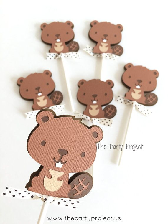 12 Beaver Cupcake Toppers   Little Beaver theme baby shower   Forest animals cupcake picks   Woodland birthday party or camping event decor.
