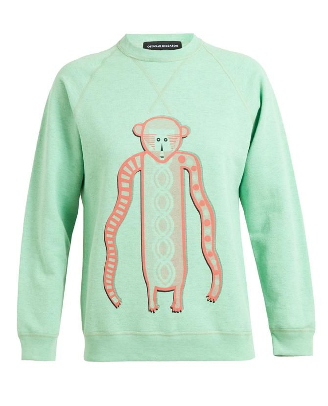 Shop now: Ostwald Helgason Monkey Motif Cotton Sweatshirt
