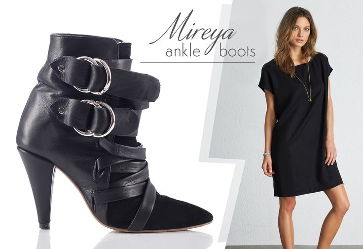 The Mireya boots made of leather and camoso insertions are suitable for an office or elegant attire @j