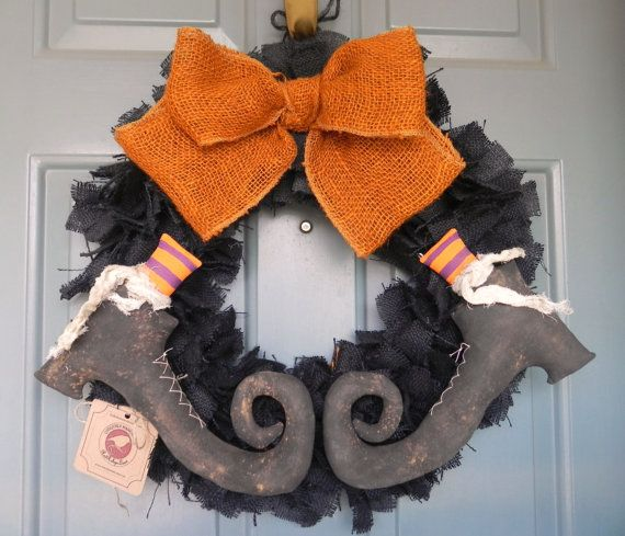 Burlap Halloween Wreath with Primitive Witch Boots by RedRobynLane, $ 67.00