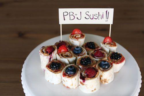 PB+Fruit Tortilla ''Sushi''Kids Parties, Kids Lunches, Fingers Food, Kids Snacks, Pb Sushi, Baby Shower Food, Pbj Sushi, Sushi Rolls, Peanut Butter
