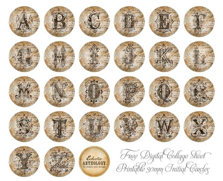 Free Printable 30mm Initial Circles-vintage, graphics, initials, circle, printable, jewelry, 30mm, commercial use, royalty free