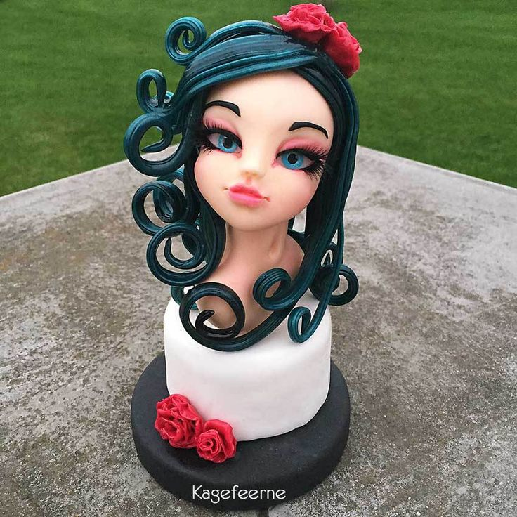 From my course in fondant and isomalt figure with Molly Coppini – Fondant figur med Isomalt hår fra Molly kursus hos Loca cake classes.