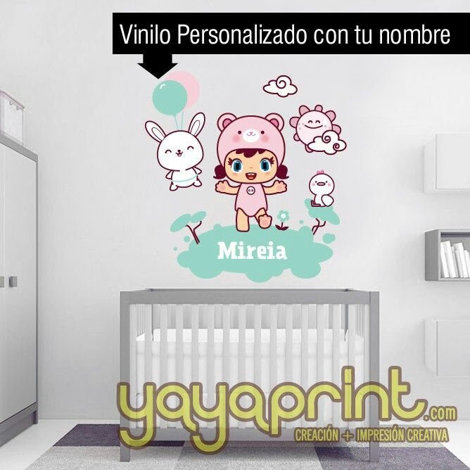 Vinilo ni a bebe kawaii con animales personalizable para for Vinilo habitacion chica