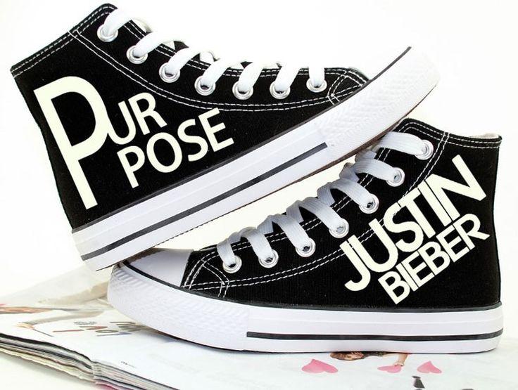 Glow in the dark Justin Bieber album Purpose canvas shoes for teens, so cool luminous Justin Bieber Purpose pattern in dark.