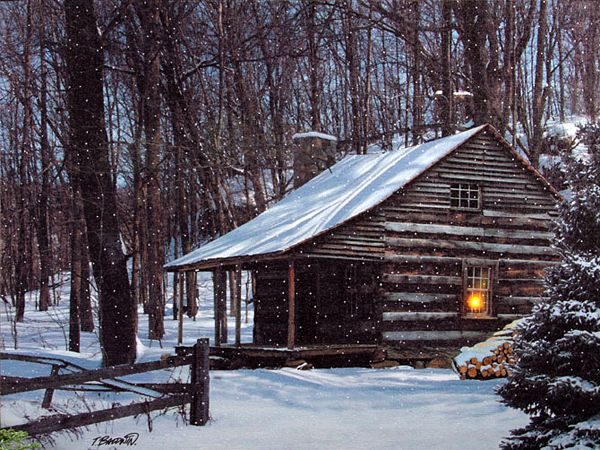 check out the deal on lighted snow capped cabin lighted On snowy cabin in the woods