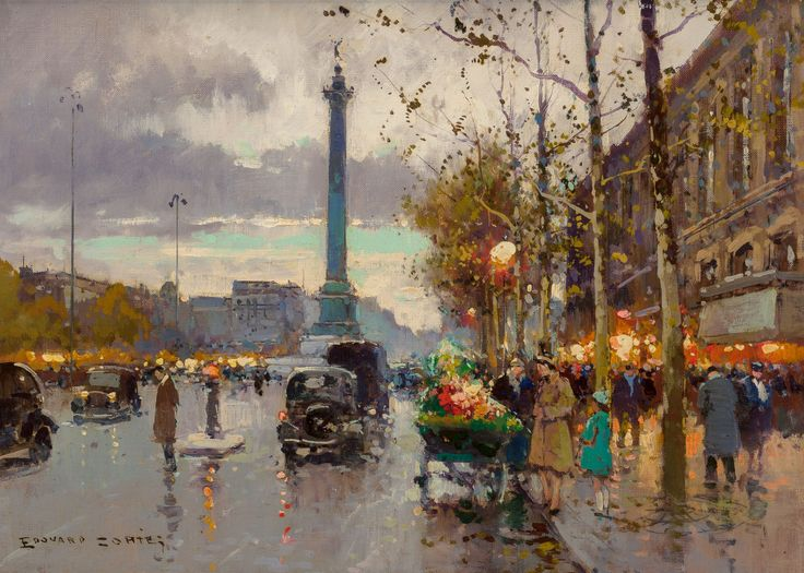 Edouard-Léon Cortès (French, 1882-1969) Place de la Bastille Oil on canvas 13 x 18 inches (33.0 x 45.7 cm) Signed lower left: Edouard Cortès: