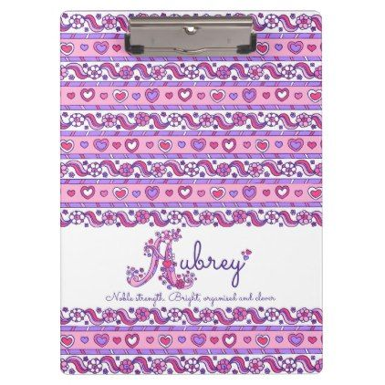 #initial - #Aubrey name meaning hearts doodles clipboard