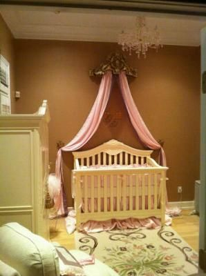 Perfect Princess Baby Nursery: I was excited about having a girl and wanted to do a princess theme, but not a cheesy princess theme. We went elegant. My husband took the idea and ran