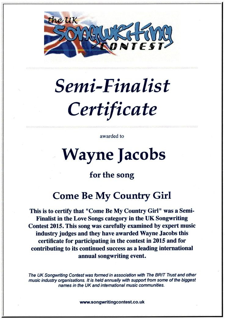 Stars & Stripes Of Freedom Semi Finalist in the  UK Songwriting contest 2017