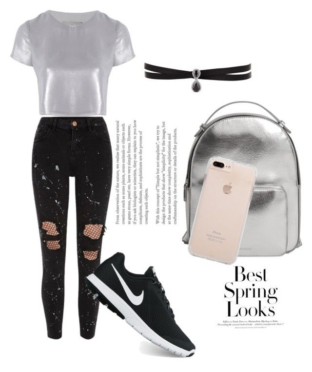 """""""silver ♡"""" by delia-alexia on Polyvore featuring Halogen, River Island, Related, NIKE, MANGO, Fallon and H&M"""