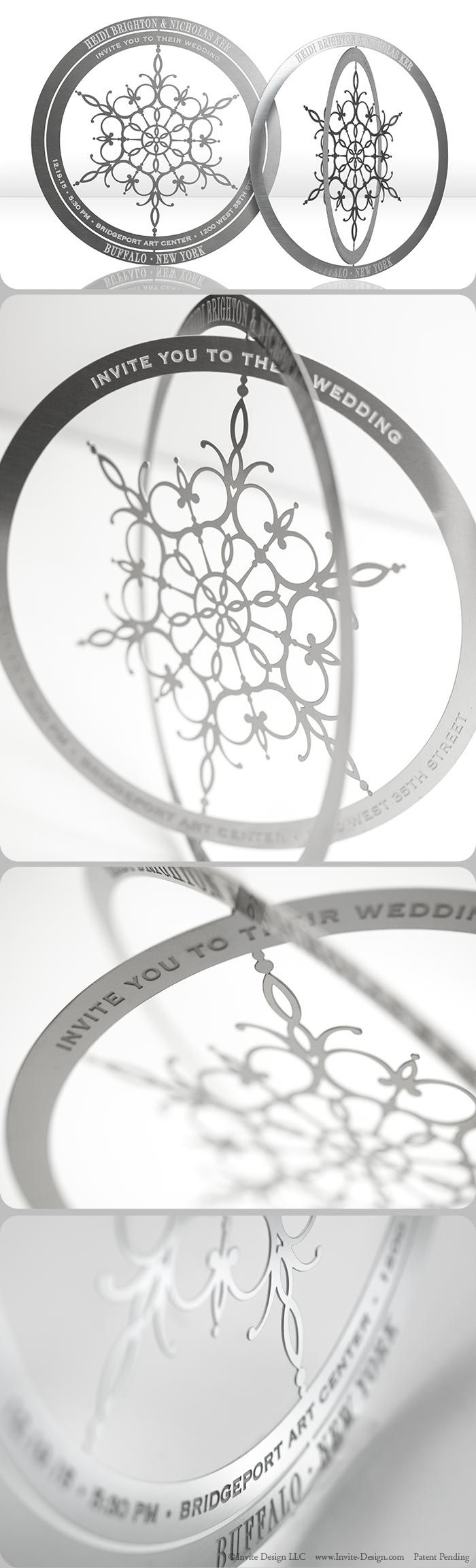Snowflake metal wedding invitations mail flat, then transform into an ornament…