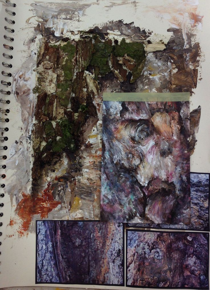 CNC: Emma, development sketchbook page, combining tree bark with acrylic paint