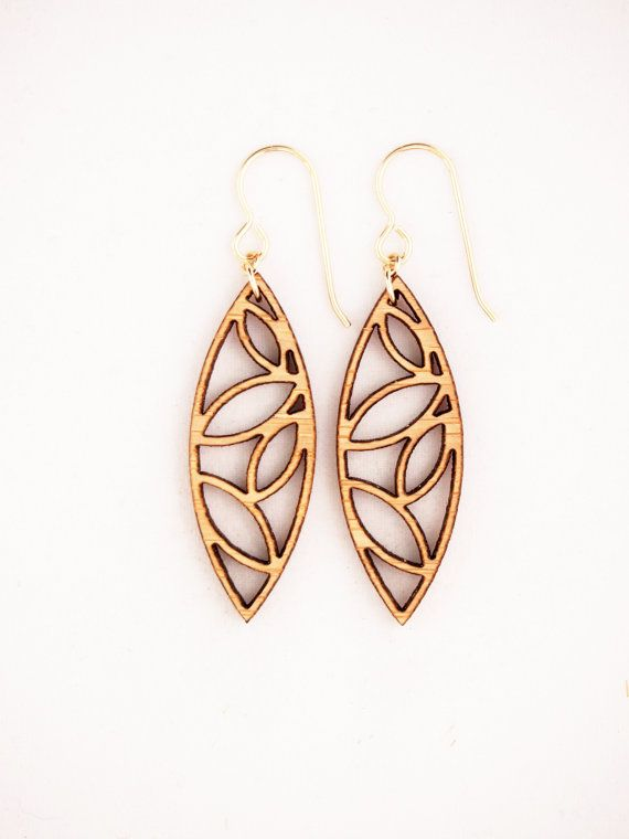 Folia Design SF Laser Cut Earrings, Bamboo