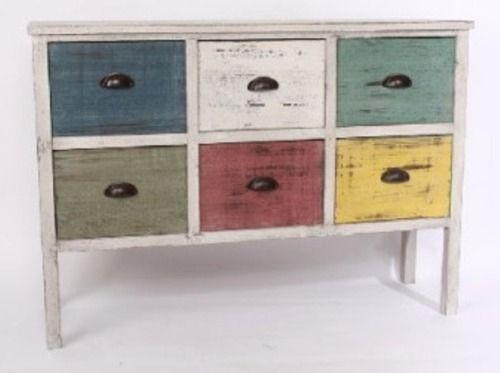 Mueble blanco 6 cajones decape color