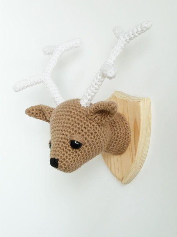 Crocheted deer head faux taxidermy by CreepyandCute on Etsy, €55.00