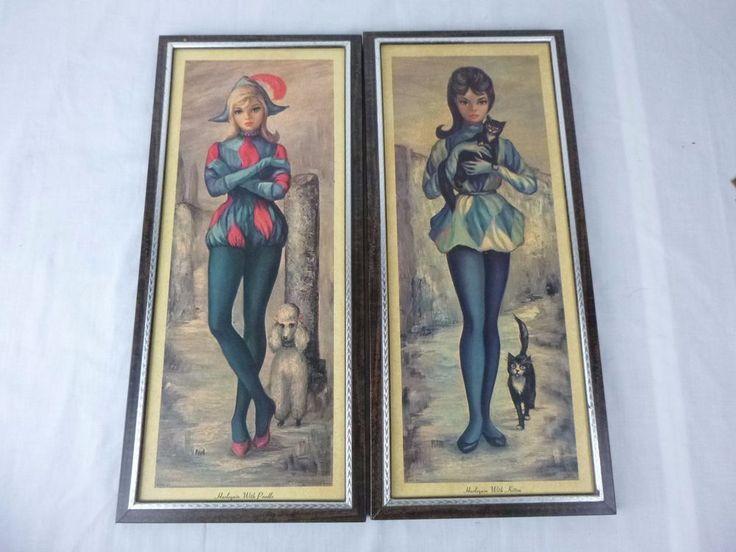 Pr Vtg Mid Century Maio Harlequin Girl Litho Prints White Poodle Black Kittens