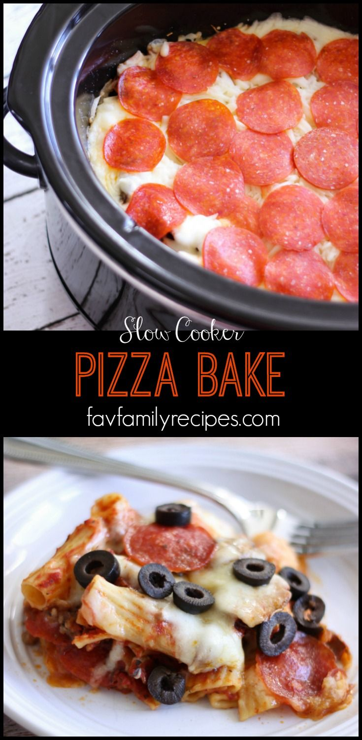 This Slow Cooker Pizza Bake is an easy dinner with all of the favorite flavors of pizza in a hearty pasta dish. I like the convenience of being able to make it ahead of time.