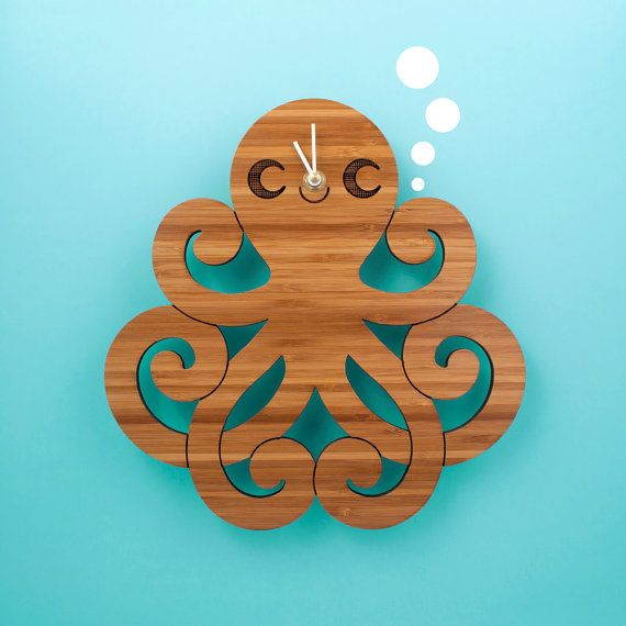 Bamboo Octopus Clock: Wood Kids Clock Ocean by graphicspaceswood