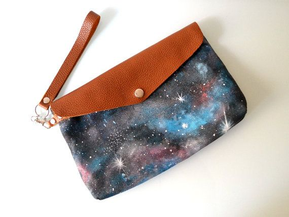 Hand Painted Galaxy Canvas and Leather by BarbaLeatherStudio