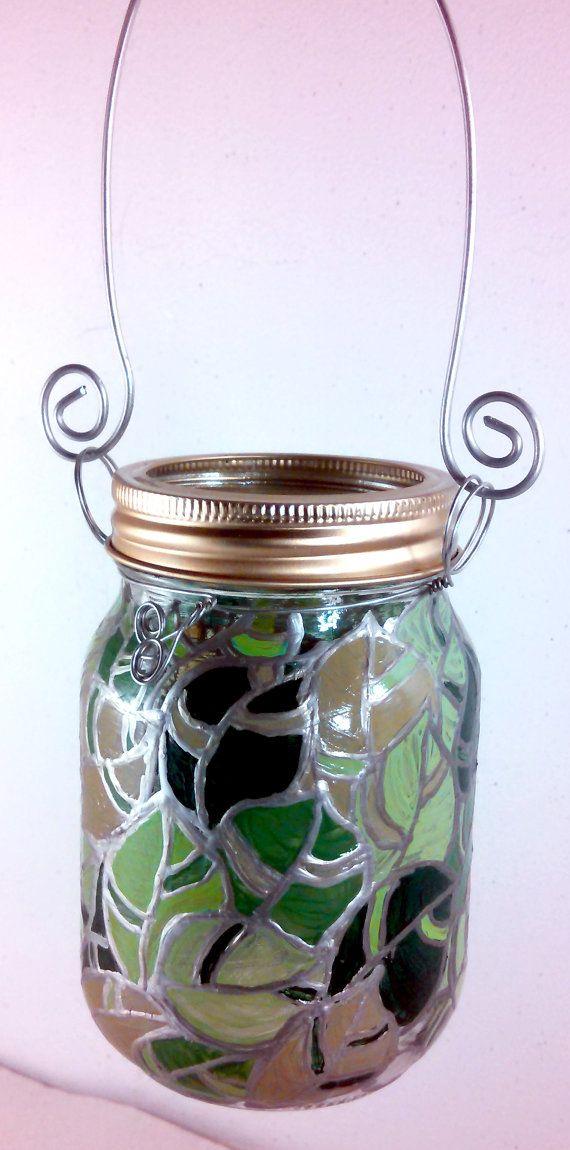 1 Ручная роспись Мейсон Jar Фонарь Свет / стекло подсвечник, очаровательны дополнением к любому домашнего декора, зеленые листовые овощи делать хорошие Свадебные подарки