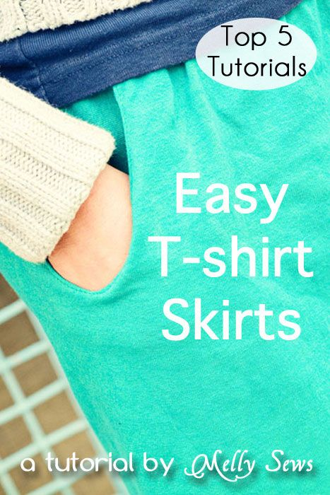 Easy t-shirt skirt tutorial - Melly Sews #sewing #diy #upcycle