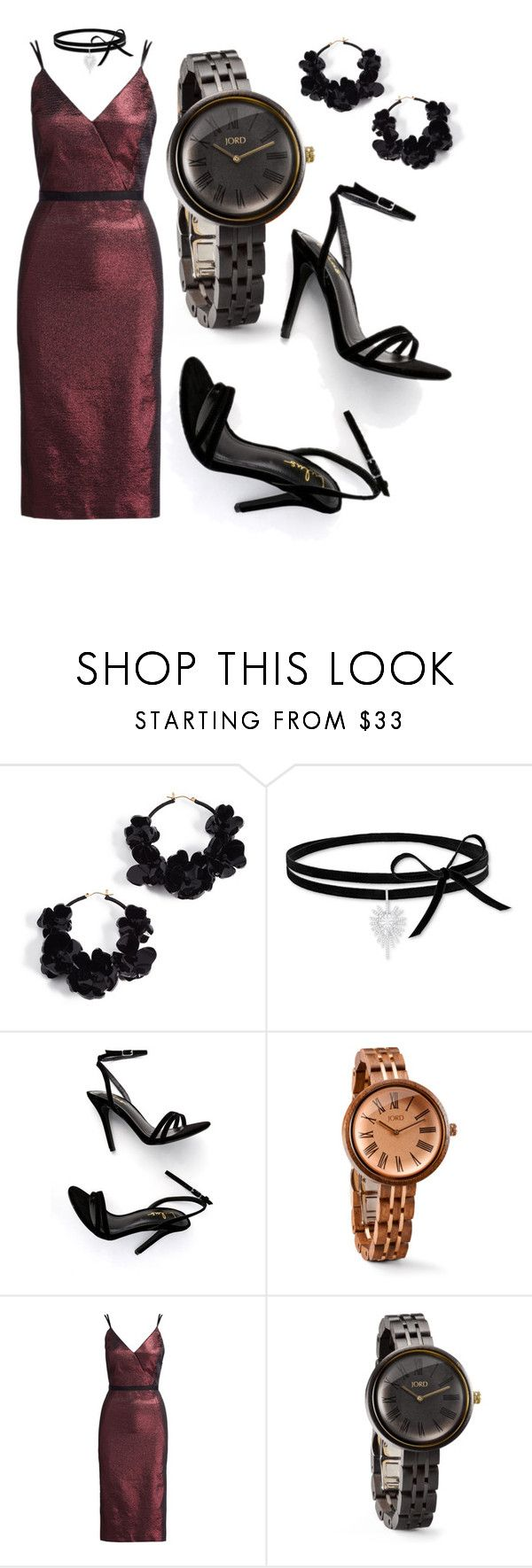 """""""Dress up with the Jord Wood Watch!"""" by donutsanddrama on Polyvore featuring Oscar de la Renta, Swarovski, LULUS, Cinq à Sept and Cassia"""