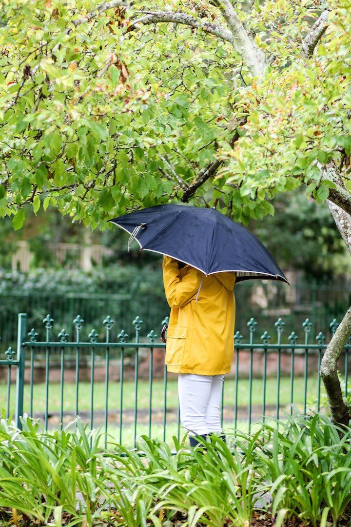 STYLE SMORGASBORD / Rainy Weather Style featuring Yellow Boohoo raincoat with gingham lining, white jeans, navy hunter boots and maroon sleeveless turtleneck knit, prep, preppy, preppy, sydney, australia, autumn, fall, 2017 style