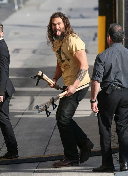 Jason Momoa Photos Photos - Jason Momoa is seen at 'Jimmy Kimmel Live' on January 26, 2017. - Jason Momoa Brings an Ax to Jimmy Kimmel