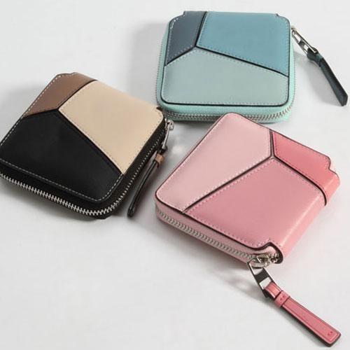 Leather Geometric Wallet Blue Zip Small Wallets Purse For Women