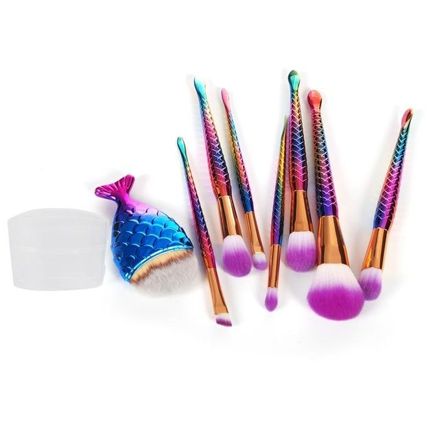 8Pcs Mermaid Shaped Makeup Brush Set Big Fish Tail Foundation Powder Eyeshadow Make up Brushes Contour Blending Cosmetic Brushs-in Makeup Brushes & Tools from Beauty & Health on Aliexpress.com | Alibaba Group