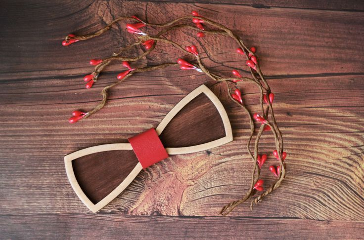 Wooden Bow Tie, 3D with Red leather. Standard size for men, and Small size for…