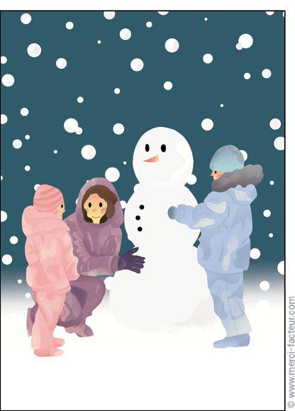Trouvez de très belles cartes à envoyer en Février ! http://www.merci-facteur.com/carte-fevrier.html #Carte #Février #montagne #lac #ski #neige #vacances #froid #saison #Hiver Carte Bonhomme de neige et les enfants pour envoyer par La Poste, sur Merci-Facteur !