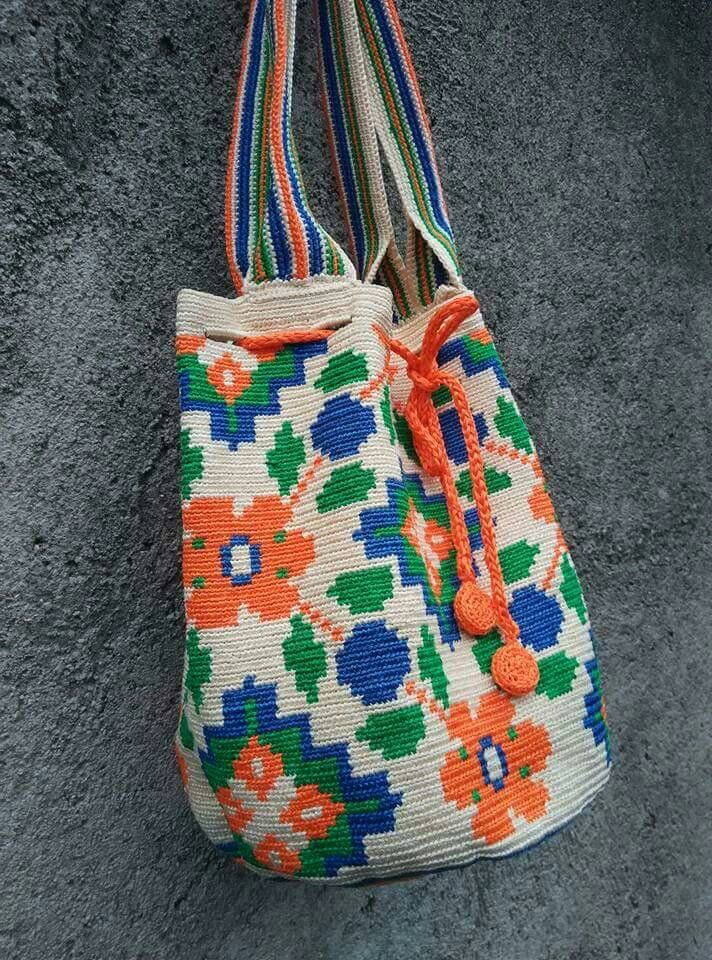 tapestry crochet bag made from satin ribbon 3 mm