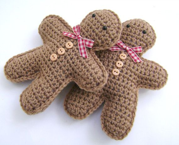 Crochet Gingerbread Man Christmas Decoration Holiday Bowl Fillers Shelf Sitters Amigurumi Set of 2