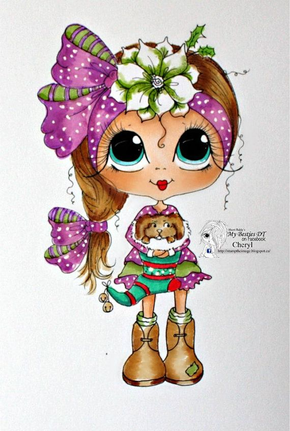 INSTANT DOWNLOAD Digital Digi Stamps Big Eye Big Head Dolls NEW Besties Christmas Stocking remixjuly6  My Besties By Sherri Baldy