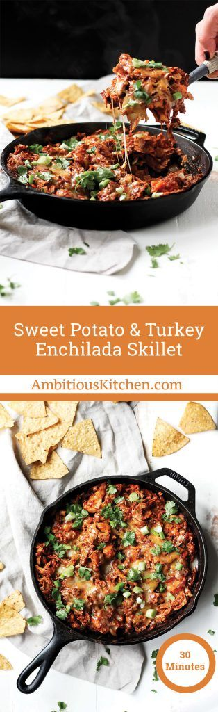 Sweet Potato & Turkey Enchilada Skillet is the best way to use your Thanksgiving leftovers with an easy 10 minute homemade enchilada sauce.
