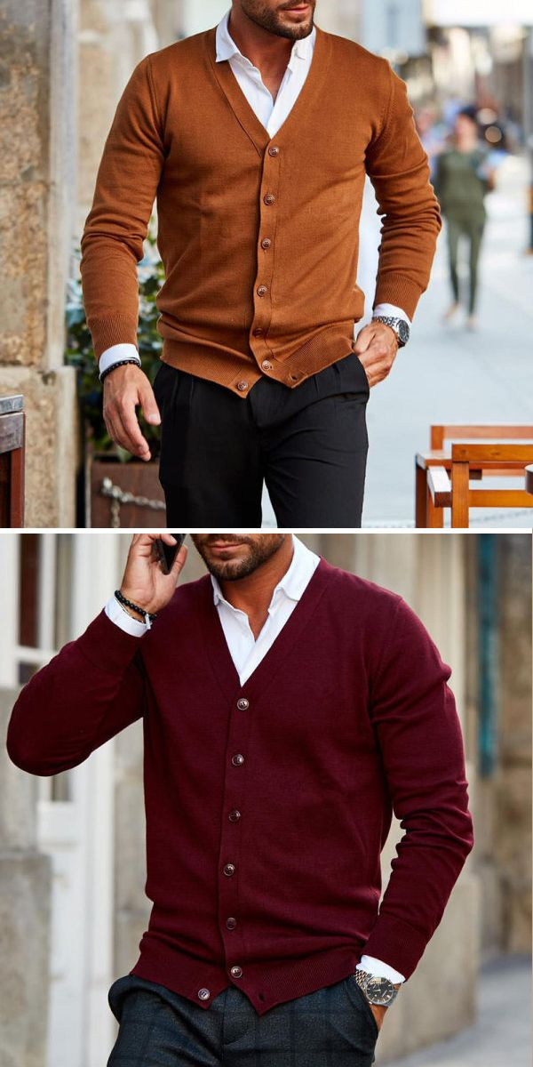 Men's fashion solid color button knit cardigan in 2020