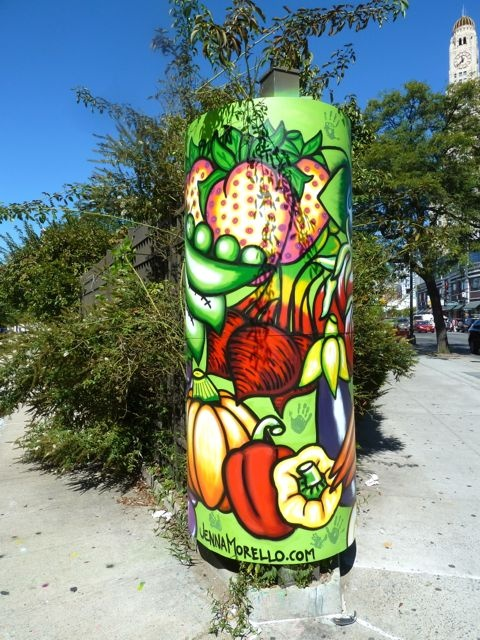 Painting water tanks- very cool. Community Garden - Brooklyn, NYC