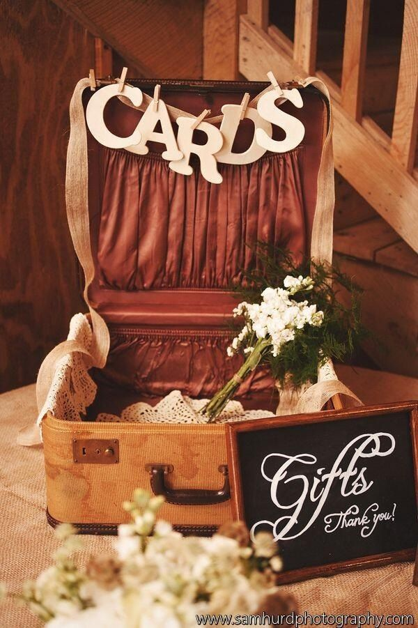Suitcase used for cards and gifts