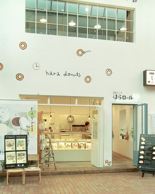 Who wouldn't want to peek into Hara Donuts after seeing their whimsical store-front? The clean and clear lines are welcoming while their unique hand-written font can't help but bring out the kid in all of us. #Design #Retail #Donuts