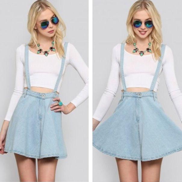 Denim Overalls Skirt 73