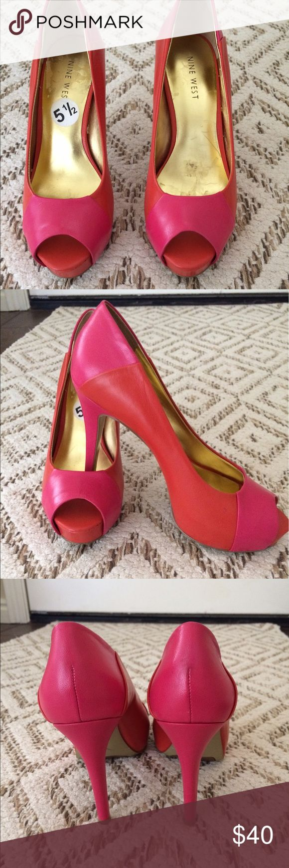 "Nine West shoes Pink and orange Nine West heels.  Perfect condition. No scratches. No stains. 4"" heel. 1/2"" platform. Nine West Shoes Heels"