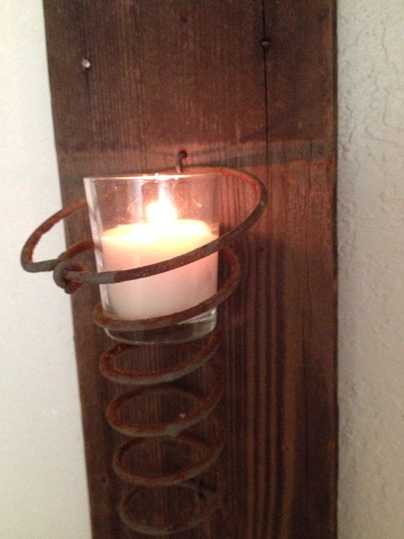 Rustic Wood Rusty Spring Votive Wall Sconce Candle on Etsy, $14.95